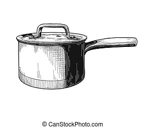 Saucepan isolated on white background. Vector illustration.