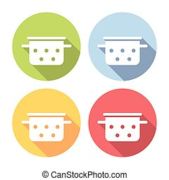 Saucepan Kitchen Equipment Flat Icons Set