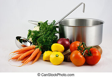 Saucepan, ladle, vegetables - Saucepan with ladle and...