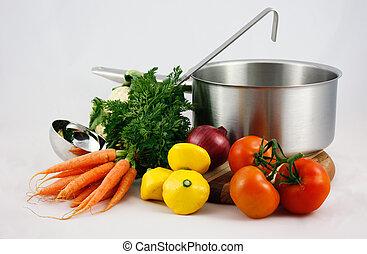 Saucepan, ladle, vegetables - Saucepan with ladle and...