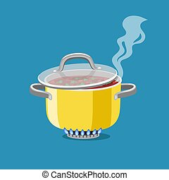 Saucepan on burner. Cartoon steel cooking pot with boiling soup, flaming gas burner heats kitchen cookware pan, vector illustration concept of home dinner isolated on blue backgroun