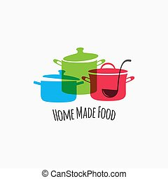 Saucepan pans with ladle on white background