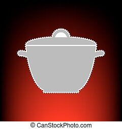 Saucepan simple sign. Postage stamp or old photo style on red-black gradient background.