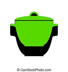 Saucepan simple sign. Vector. Green 3d icon with black side on w