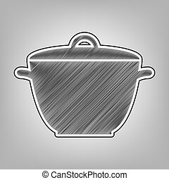 Saucepan simple sign. Vector. Pencil sketch imitation. Dark...