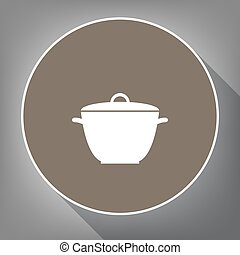 Saucepan simple sign. Vector. White icon on brown circle with white contour and long shadow at gray background. Like top view on postament.