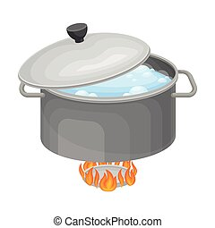 Saucepan with Boiling Water on Burner for Cooking Pasta Carbonara Vector Illustration