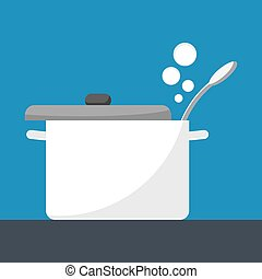 Saucepan with lid open. Simple flat vector, eps 10.