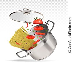 saucepan with spaghetti and tomatoes