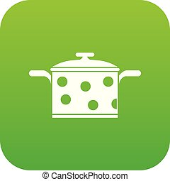 Saucepan with white dots icon digital green