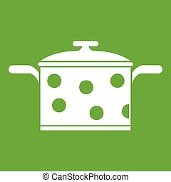 Saucepan with white dots icon green