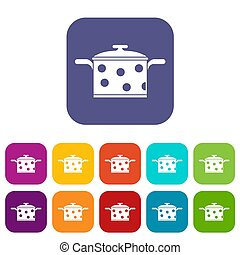 Saucepan with white dots icons set