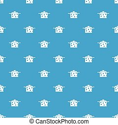 Saucepan with white dots pattern seamless blue