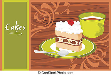 Saucer with cake and coffee cup on the wooden background....