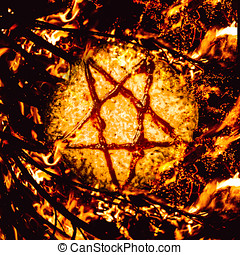 Pizzagate inferno - Saucery in a satanic star burning in a...
