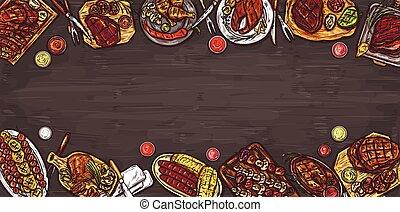 sauces., 旗, イラスト, 肉, 料理の, ベクトル, 背景, グリルされた, バーベキュー, ソーセージ,...