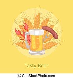 saucisse, affiche, bière, vecteur, savoureux, grillé, folklorique