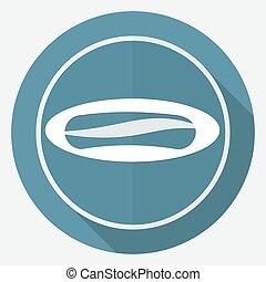 saucisse, blanc, long, cercle, ombre, icône