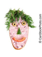 saucisse, coupure, légumes, figure, forme, heureux