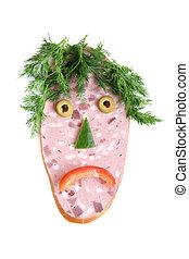 saucisse, coupure, légumes, figure, forme, triste