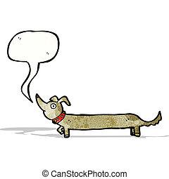 saucisse, dessin animé, chien