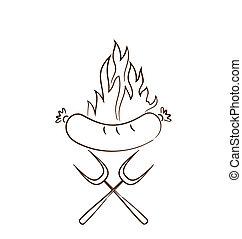 saucisse, flammes, isolé, chaud, fond, blanc