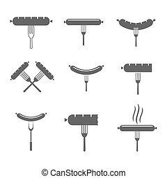 saucisse, fourchette, icônes