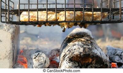 saucisse, friture, viande fraîche, vacances, barbecue, poulet, barbecue, gril, viande, chiche-kebab, nature., hamburger, grillade
