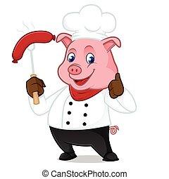 saucisse, grillade, cochon, chef cuistot, dessin animé, mascotte