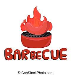 saucisse, image, vecteur, fond, grillé, barbecue, blanc