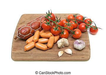 saucisse, légumes coupe, planche