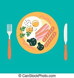 saucisse, lard, petit déjeuner, oeufs, brocoli