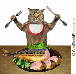 saucisse, manger, fish, chat
