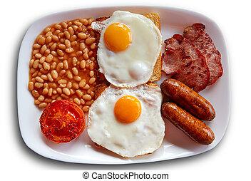 saucisse, oeufs, deux, haricots, petit déjeuner anglais