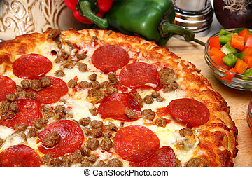 saucisse, peperoni, pizza