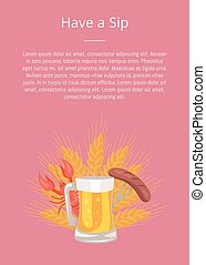 saucisse, petite gorgée, affiche, bière, verre, avoir, grillé