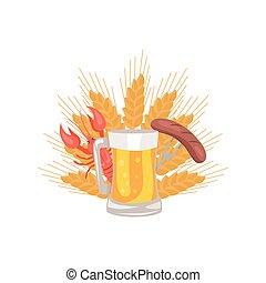 saucisse, verre, bière, vecteur, grillé, folklorique