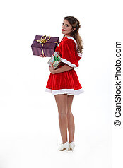 Saucy Miss Santa with Christmas presents