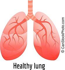saudável, ícone, estilo, pulmão, caricatura
