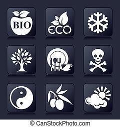 saudável, ícones, vivendo