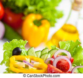 saudável, alimento, vegetal, salada