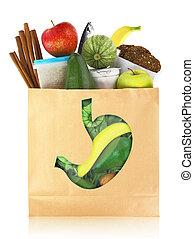 saudável, alimentos, estômago, melhor