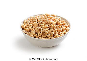 saudável, anéis, cereal