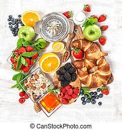 saudável, bagas, alimento, muesli, fresco, pequeno almoço, fruits., croissants