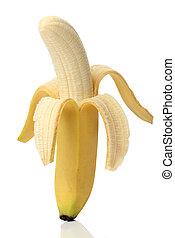 saudável, banana, isolado, branco, fundo
