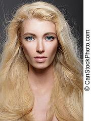 saudável, beauty., jovem, cabelo, puro, fluir, retrato, loiro