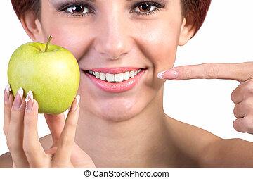 saudável, branca, sorrizo, dentes
