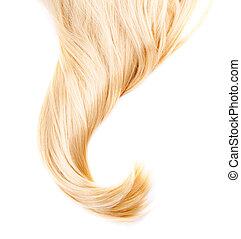 saudável, cabelo loiro, isolado, branco