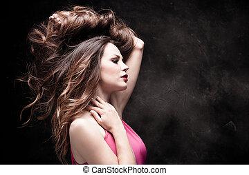 saudável, cabelo, longo