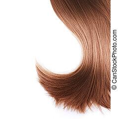 saudável, cabelo marrom, branca, isolado